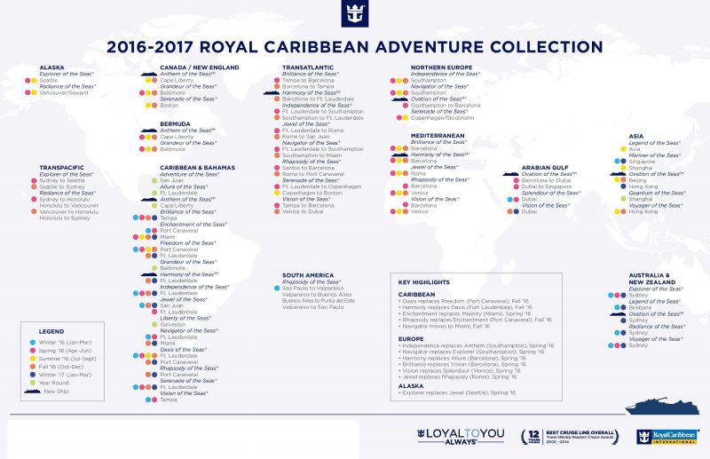 Royal Caribbean International  2016-2017 Itineraries