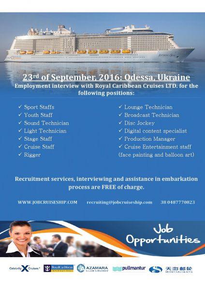 Royal Caribbean Cruises LTD.объявила о новом наборе кандидатов на осенне-зимний период 2016-2017